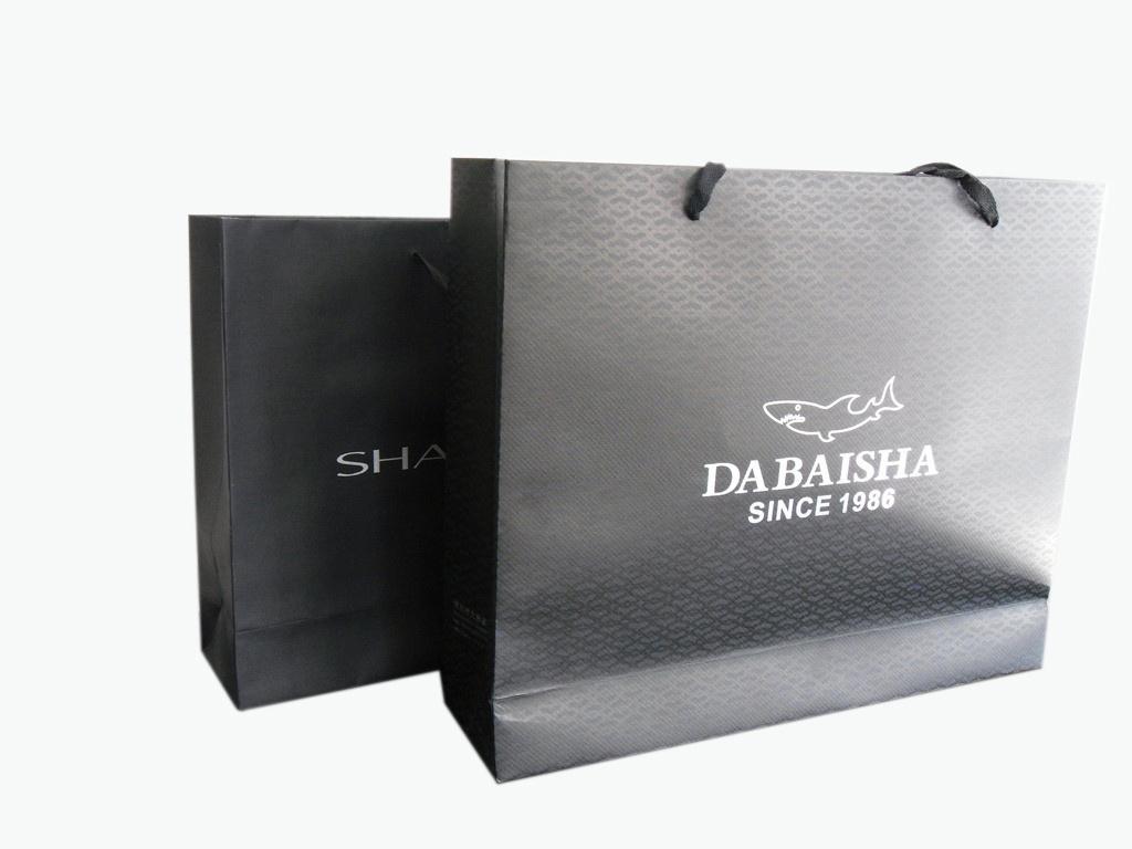 High Quality Classic Black Colour Paper Shopping Bag (YY-0162)