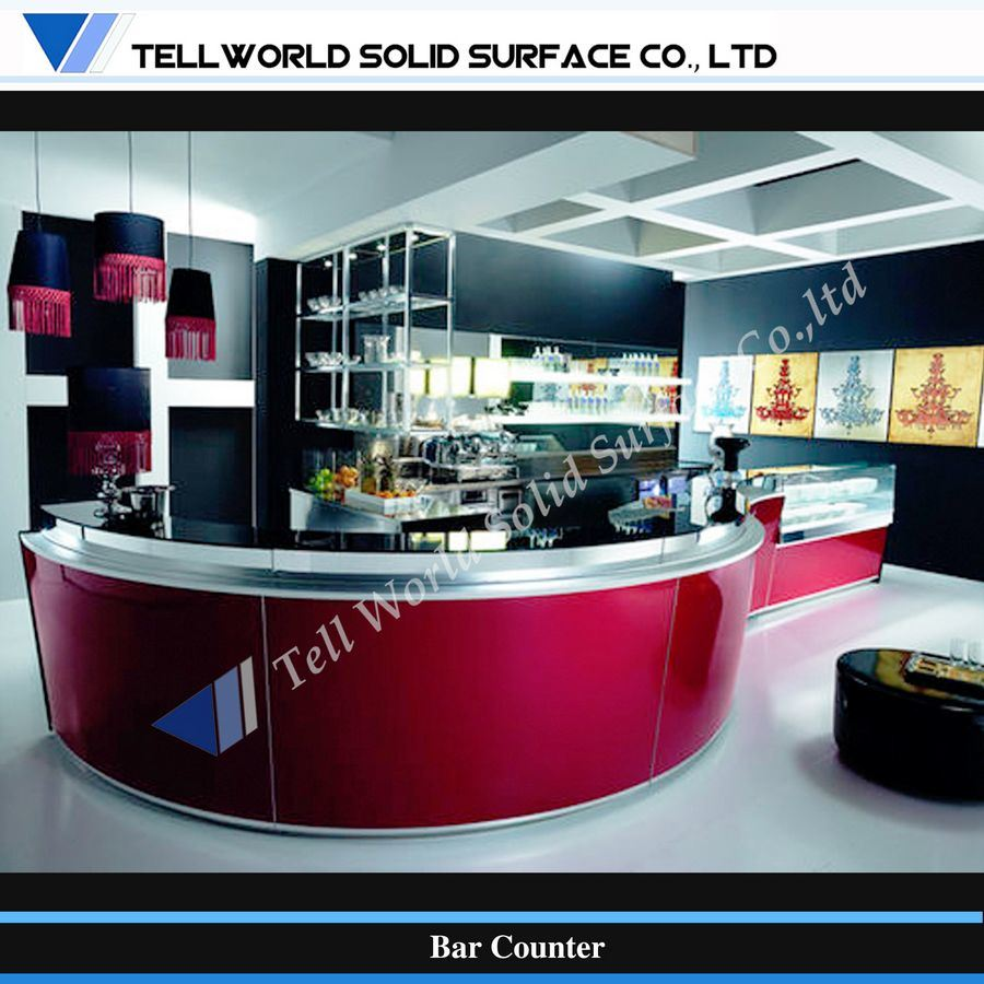China modern curved design corian commerical bar counter for Bar counter photos