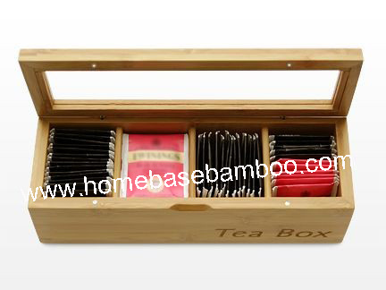 Bamboo Tea Box Organizer Storage Hb304