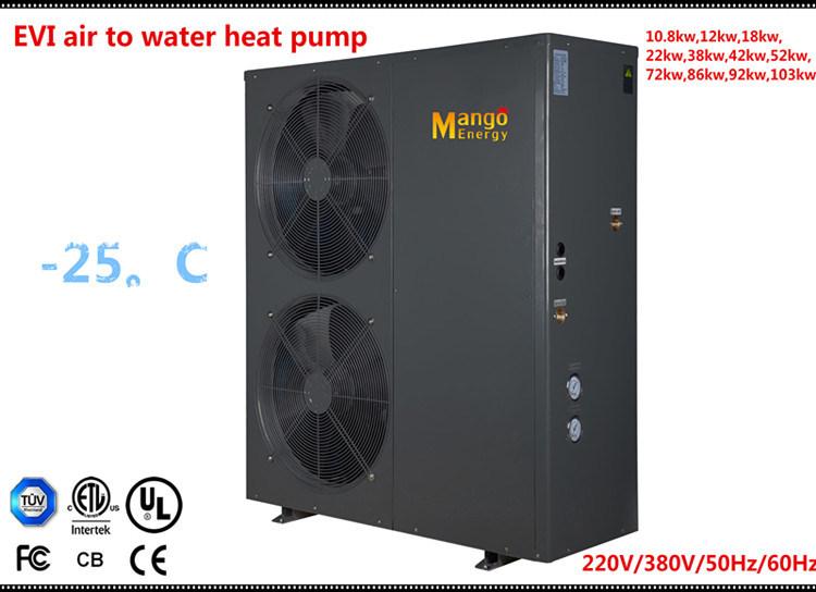 Extramely Cold -25c Winter Floor Heating Split Evi Tech. 12kw 19kw Hot Water Heater Air Source Heat Pump