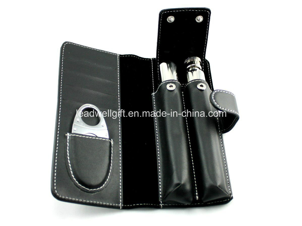 Cigar Tube Gift Set Kit with Flask and Cigar Cutter