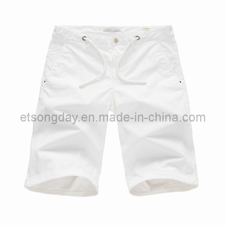 White Cotton Spandex Men′s Shorts (MR47838S)