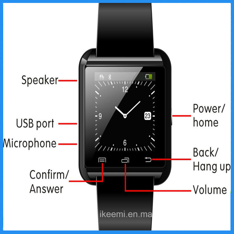2016 Hot Sell Touch Screen U8 Smartwatch with Answer and Dial The Phone Bluetooth Photograph Altitude Meter
