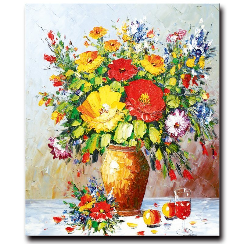 100%Handmade Decoration Flower Oil Painting on Canvas, Still Life Flower