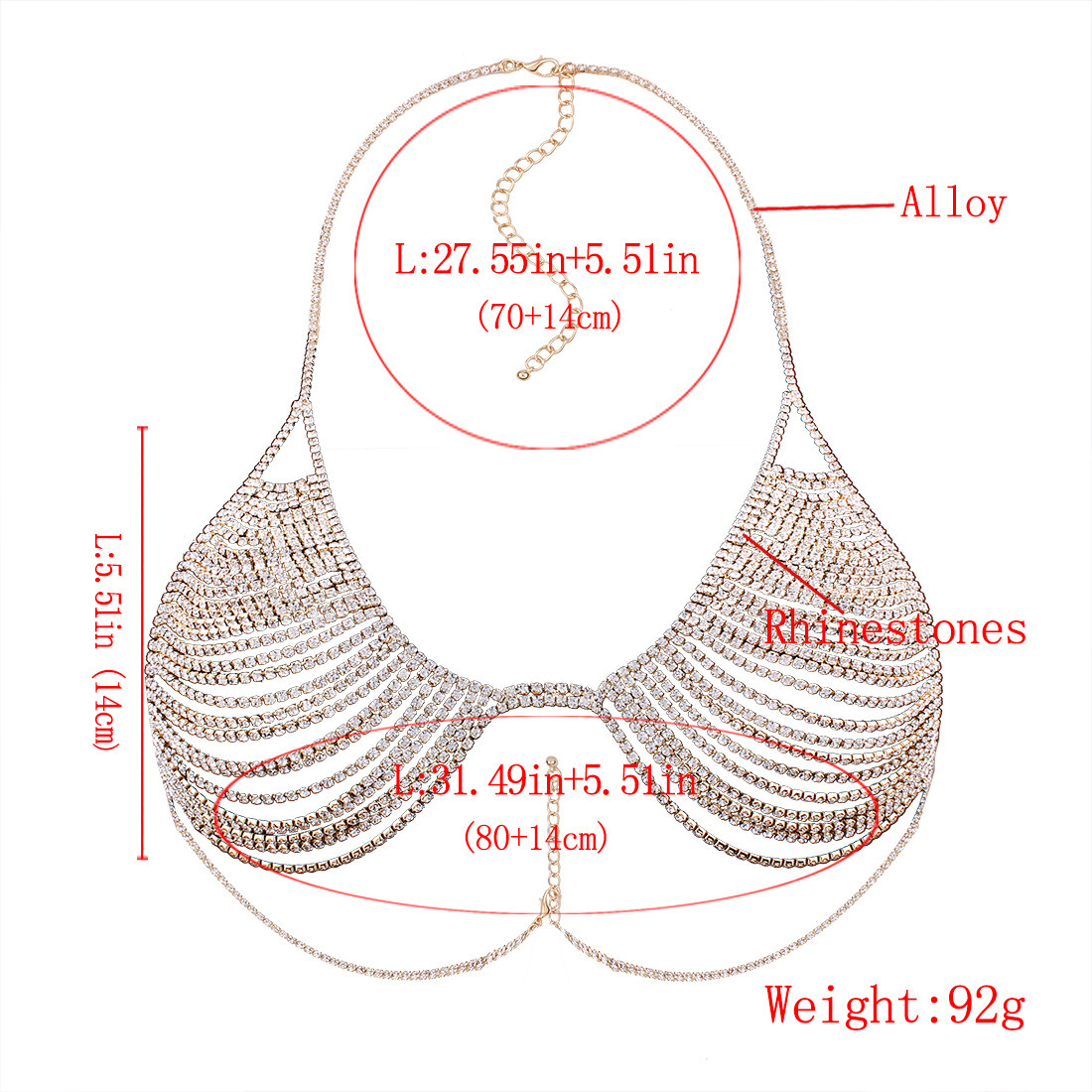 Fashion Full Rhinestone Crystal Metal Chain Bra Body Jewelry