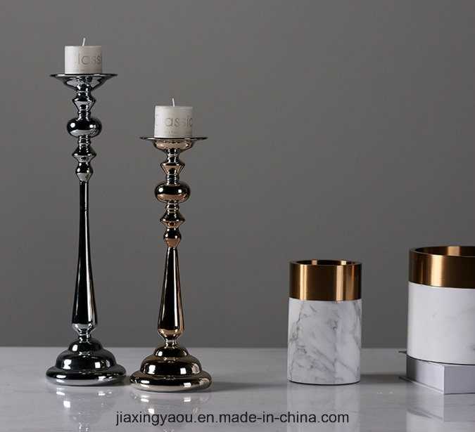Electroplate Glass Candle Holder (silver)
