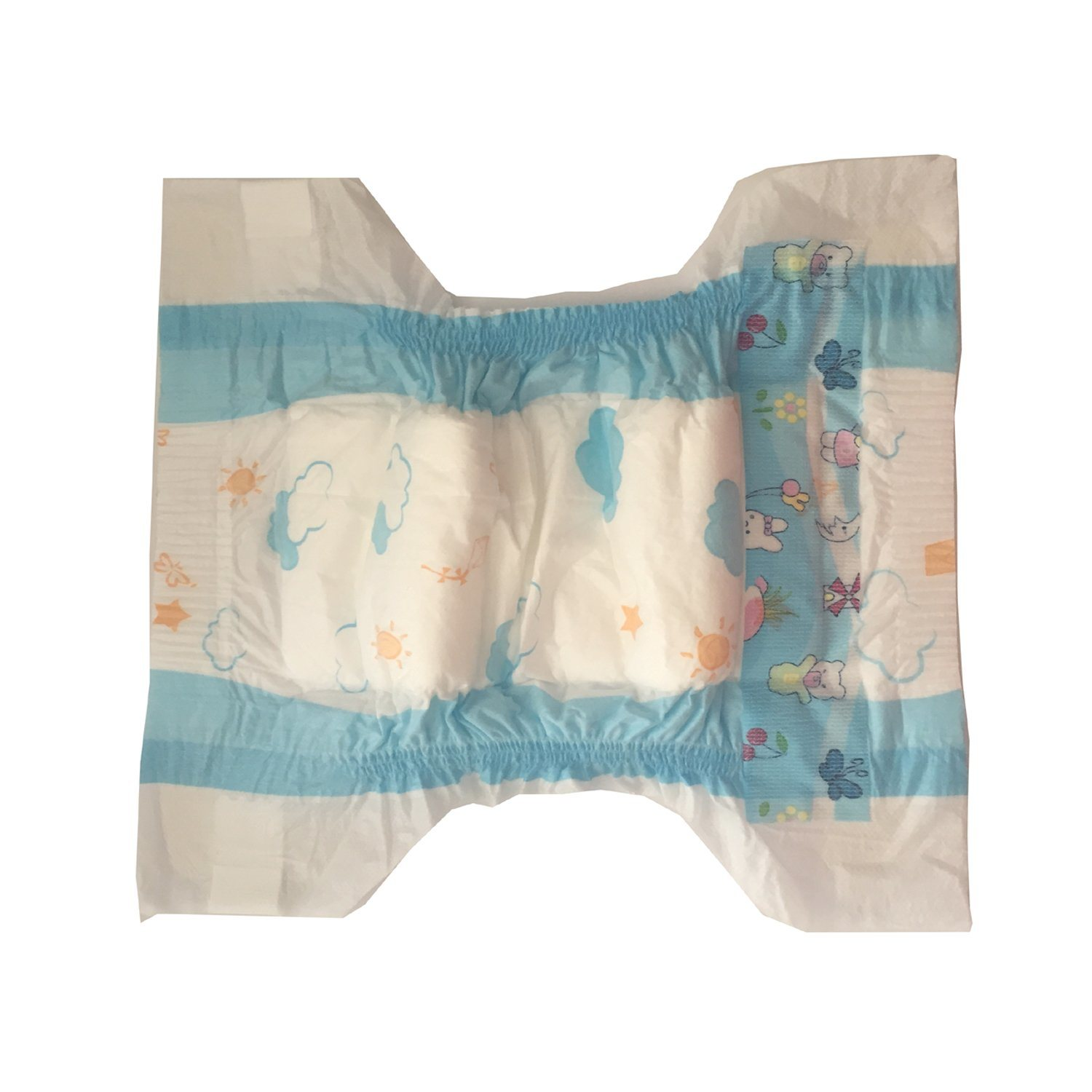 Double Sides Elastic Waistband Blue Color Common Film Disposable Diaper