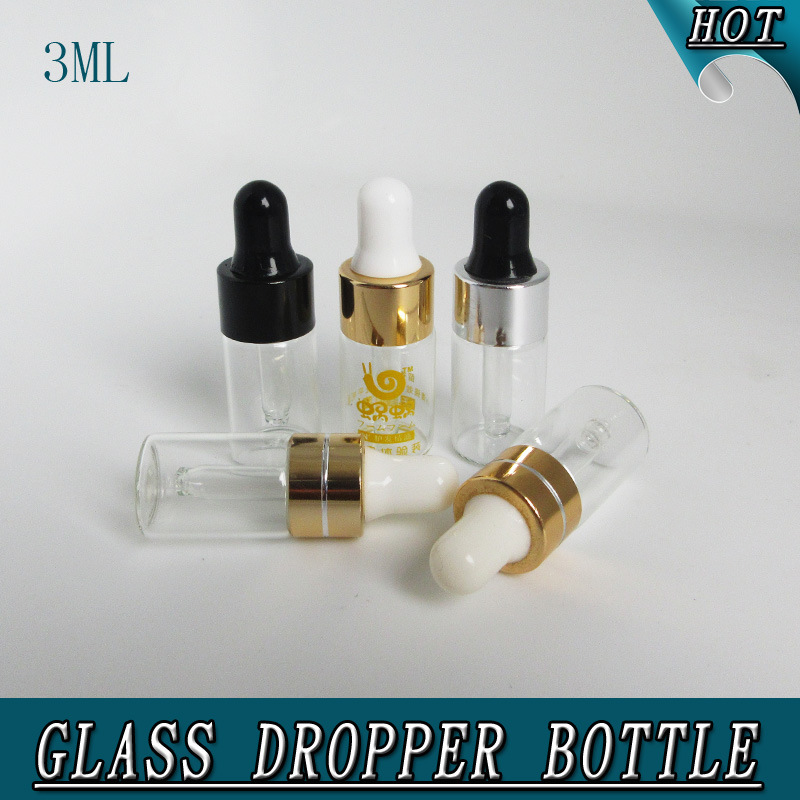 3ml Refillable Mini Clear Olive Oil Perfume Glass Dropper Pipette Bottle