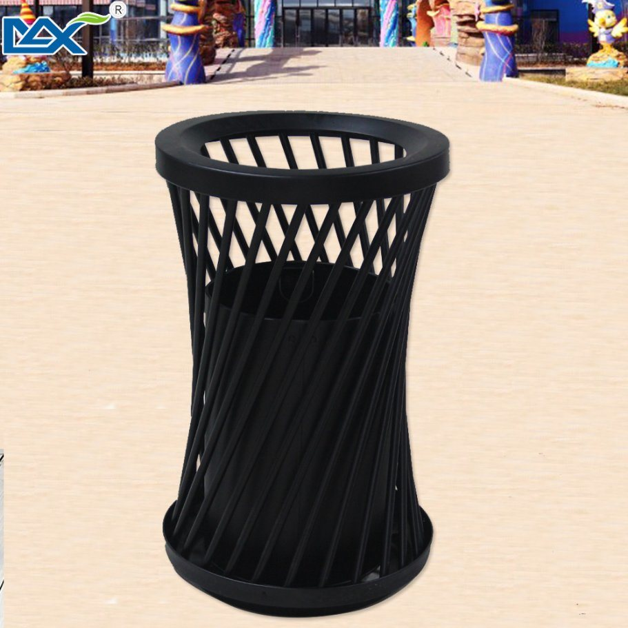Construction Black Iron Powder Coated Single Steel Wet and Dry Dustbin