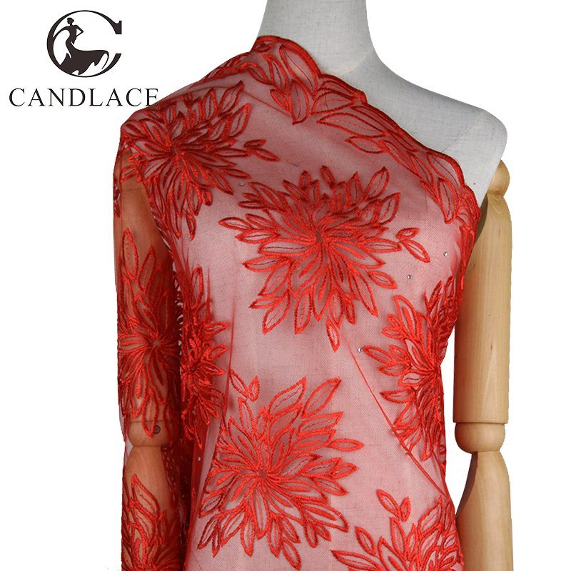 Plain Color Lace Dress Fabric Embroidery for Wedding