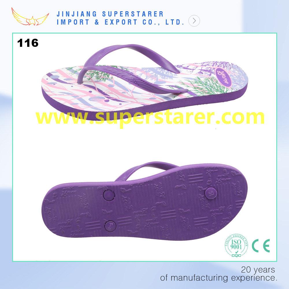Promotional Cheap PE Flip Flops Lady Shoes Wholesale