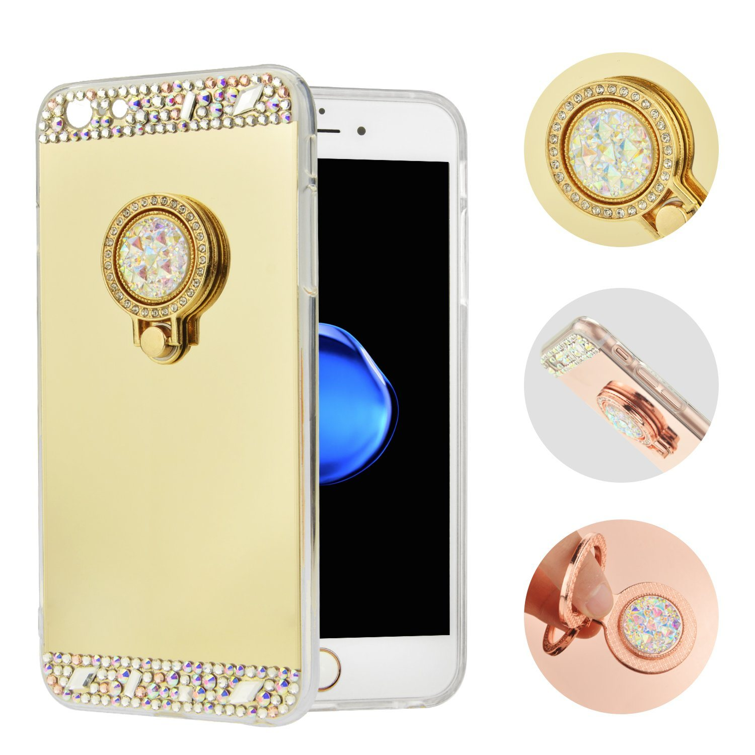 with Car Holder TPU Mirror Case for iPhone 7 7plus P8lite P9 Mobile Phone Cover (XSTJ-0003)