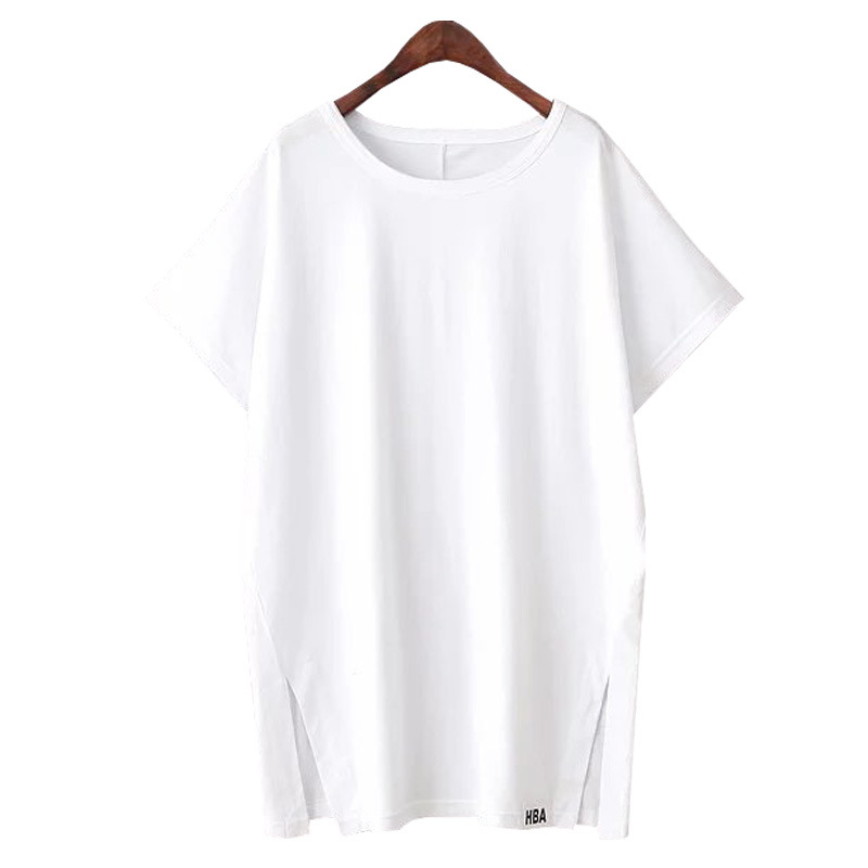The European and American Wind Contracted Cotton Pure Color Round Collar Short Sleeve T-Shirt