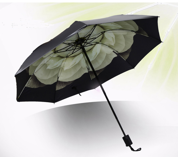 21*8k 3 Fold Promotion Sun Umbrella with Different Design printing