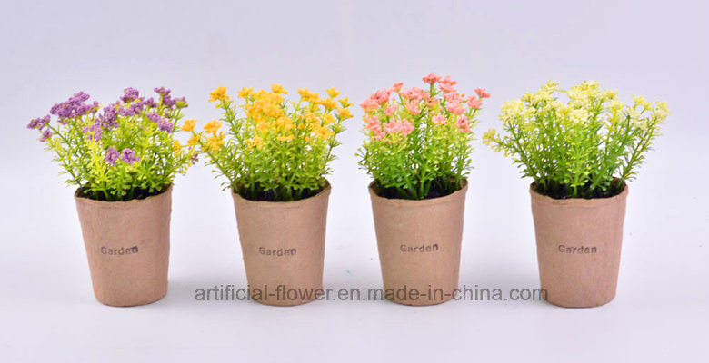 Various Wild Artificial Flower in Paper Mache Pot