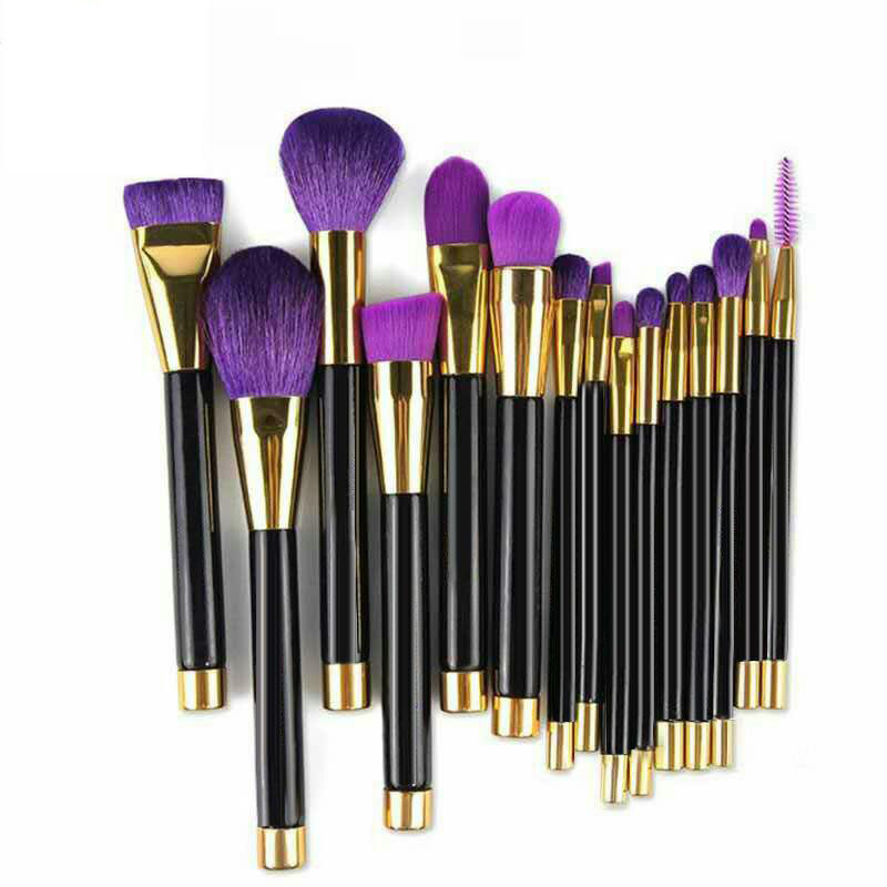 Fashion 15 Pieces Noble Purple Natural Hair Makeup Brush