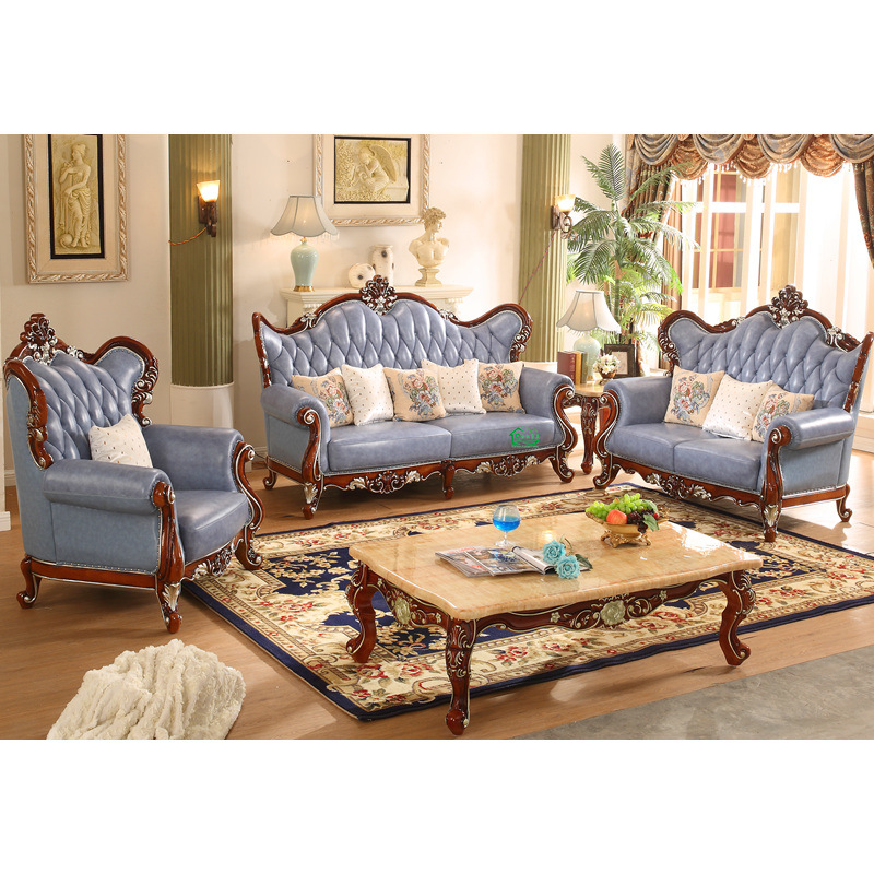 China Living Room Furniture Set With Wood Leather Sofa