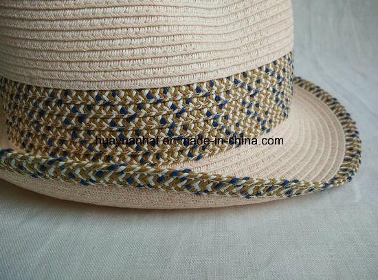 Sewn Paper Braid Fedora Straw Hat