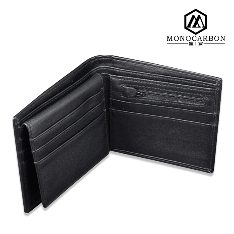 Wholesale Luxury Slim Smart Carbon Fiber Genuine Leather Wallet for Men