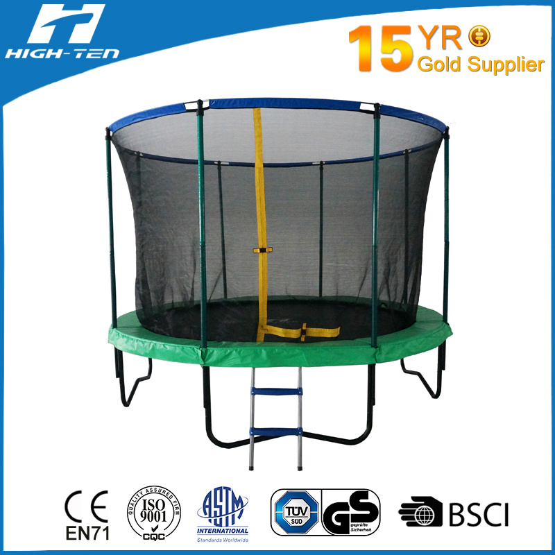 14FT Trampoline with Fiberglass Poles on The Top of Net