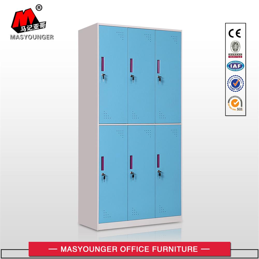 Office Metal Furniture 6 Door Colourful Steel Clothing Cabinet Locker