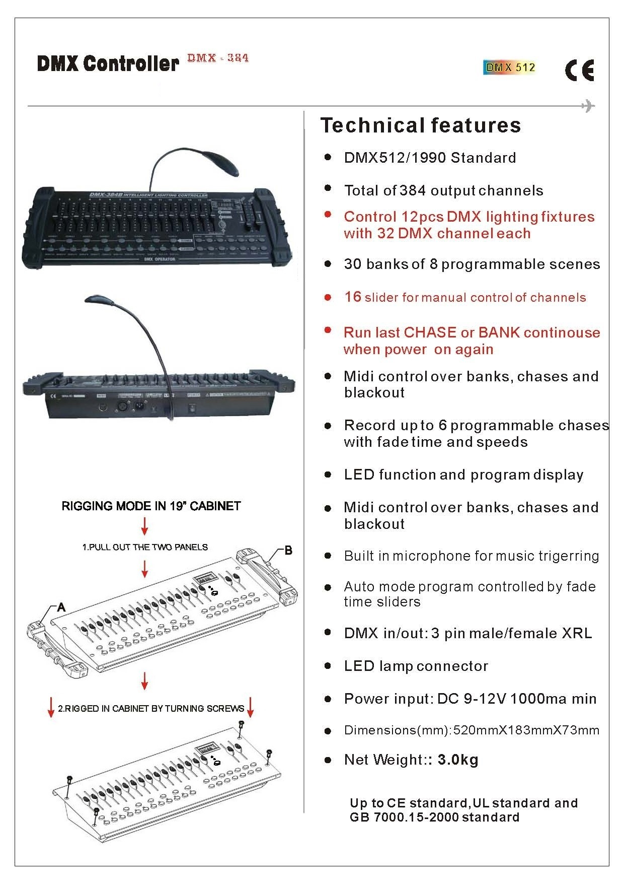 Stage Light DMX 512 Controller / Console Desk (DMX 384B)