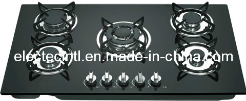 Gas Hob with Five Burners and Tempered Black Glass Panel, Enamel Pan Support (GH-G905E)