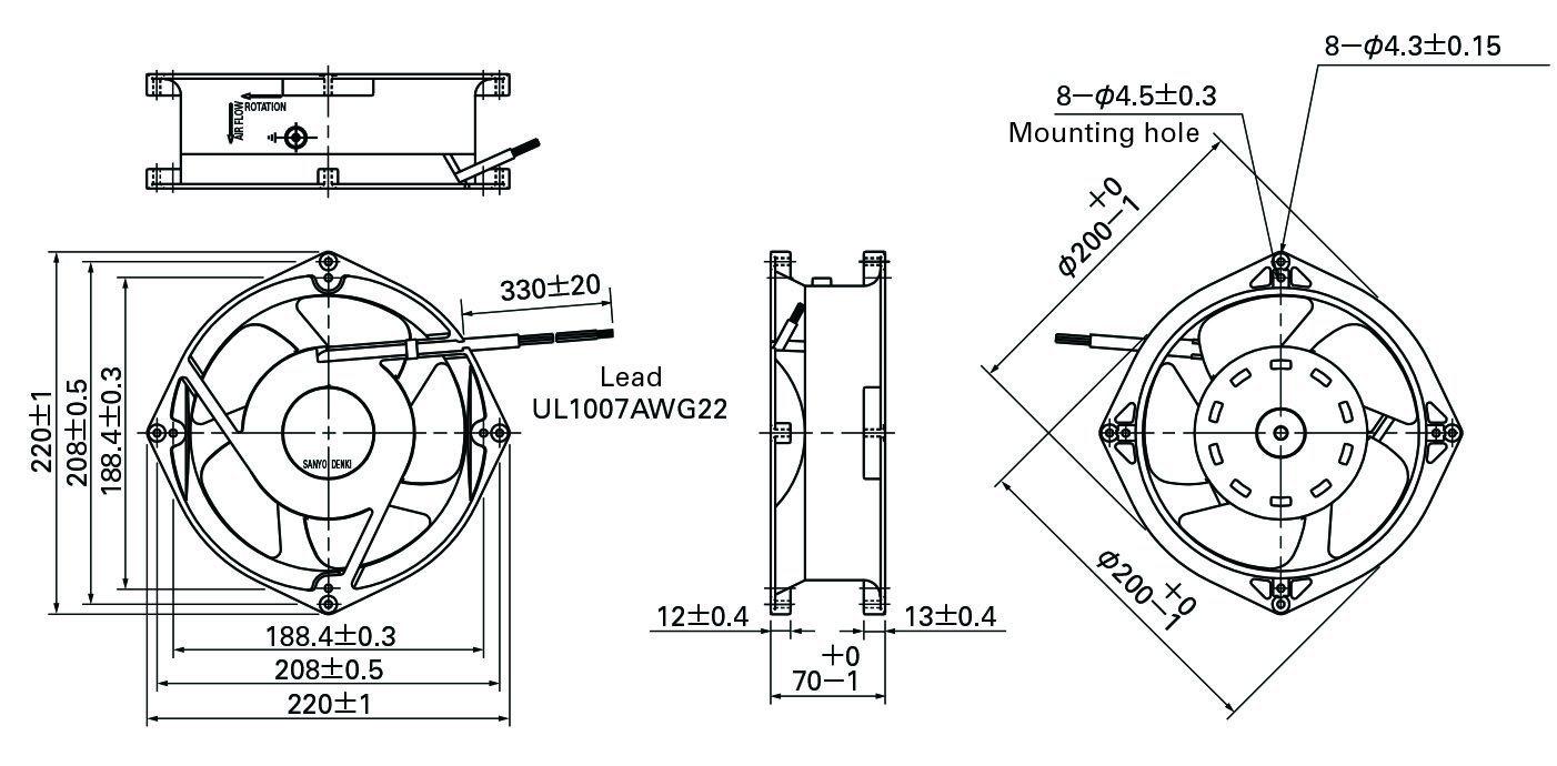 200X200X70mm Aluminum Housing Plastic Impeller DC Cooling Fan