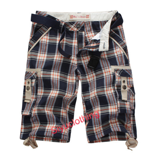 Men Cargo Check Fashion Tc Yarn Dyed Fashion Shorts (S-1519)