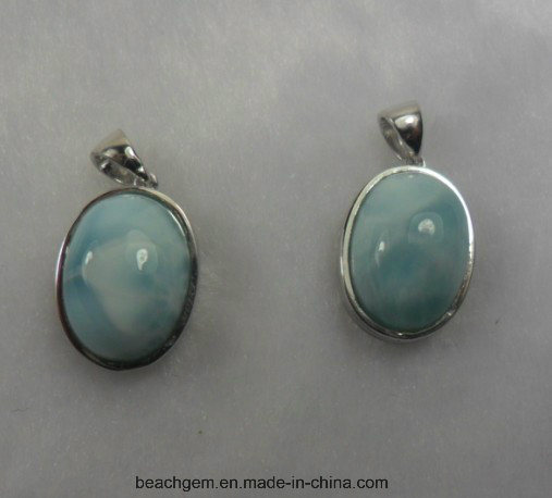 Jewellery-Sterling Silver Larimar Pendant (LR00056)