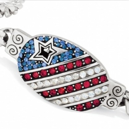 I Love America Flag Rhinestone Bracelet Fashion (SZ-1675)
