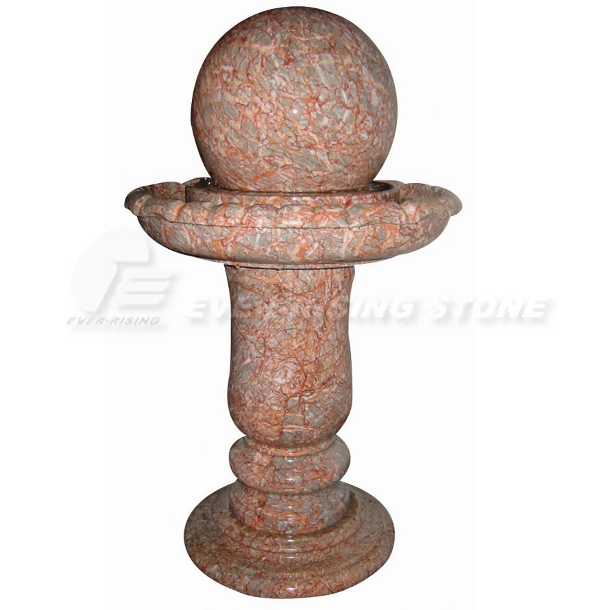 Fuente de m rmol roja de la bola fuente de m rmol roja - Fuentes de marmol para jardin ...