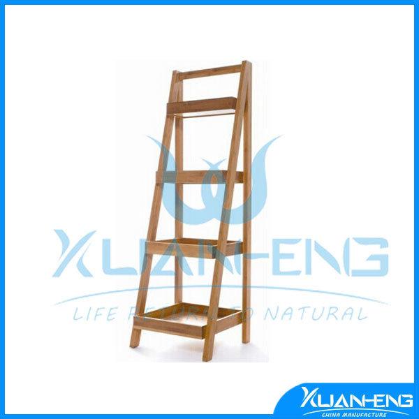 Customized Floor Bamboo Display Bamboo Wall Shelf
