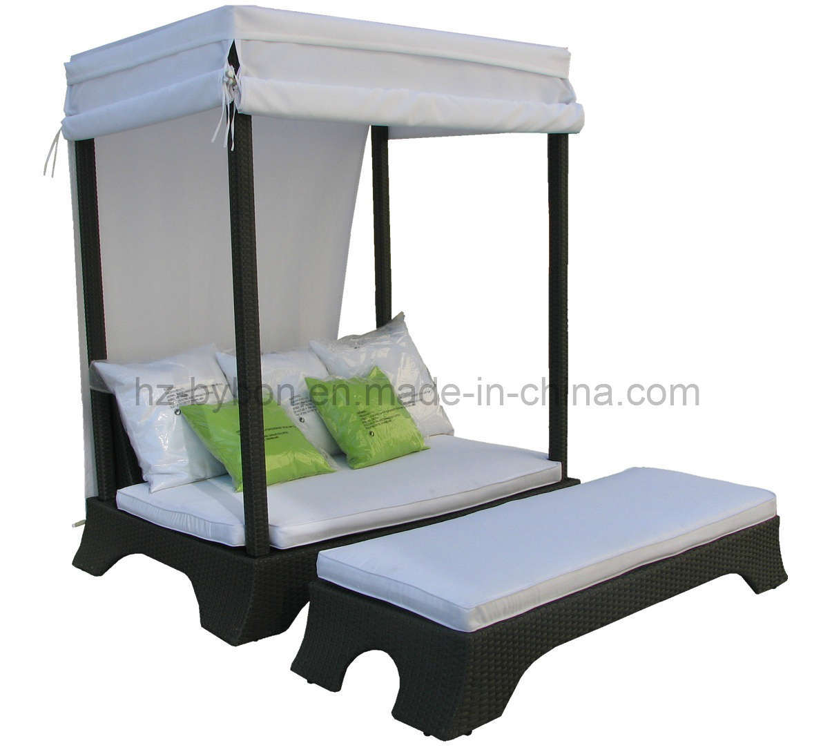 Rattan Daybed Canopy : China pe rattan patio canopy daybed lounger c