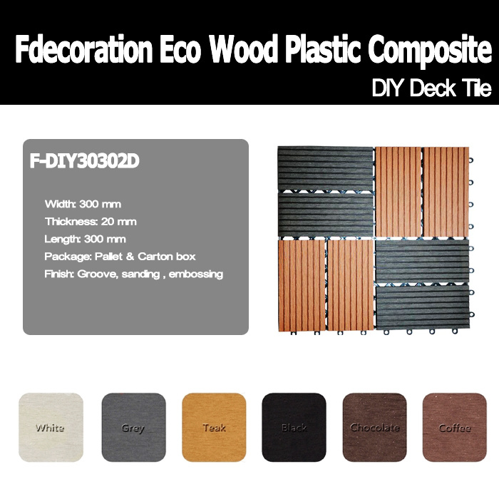 Garden Decorative WPC DIY Decking Tiles Wood Plastic Composite Flooring
