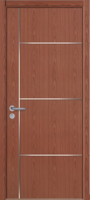 Flush Interior Ash Wood Door with Aluminium Alloy Strip Decoration