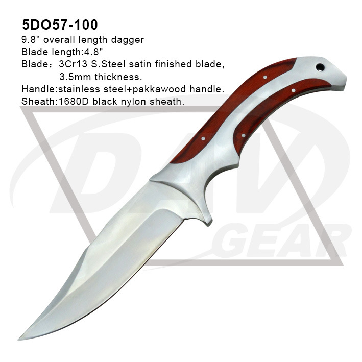 "9.8""Overall Stainless Steel&Pakkawood Handle Dagger with Satin Blade (5DO57-100)"
