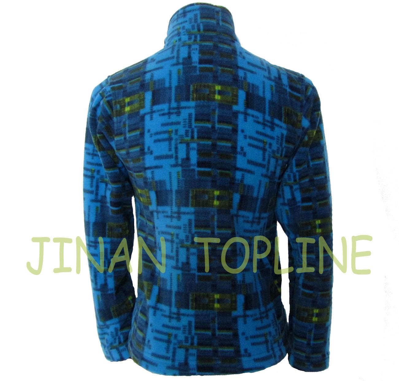 Long Jacket Printed Microfleece Blue Jacket