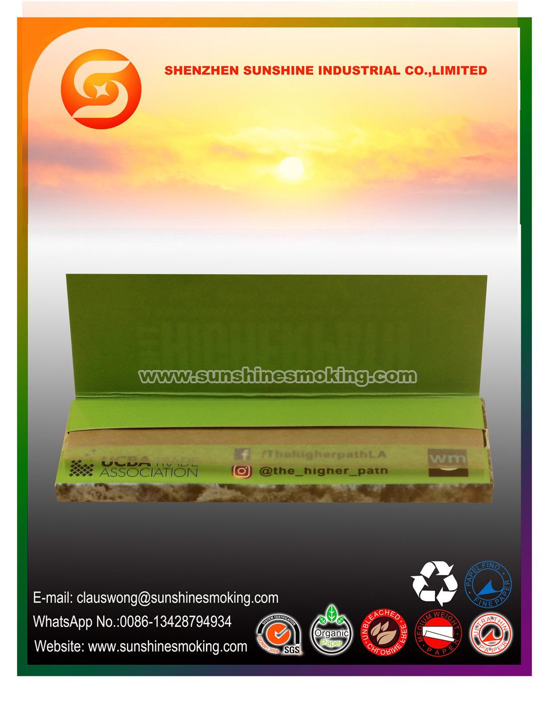 Customized 1 1/4 Size Ultra Thin Brown Premium Smoking Rolling Paper
