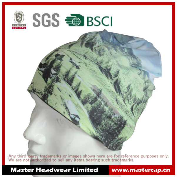 Colorful Reversible Polyester Cotton Jersey Sports Running Beanie with Printing