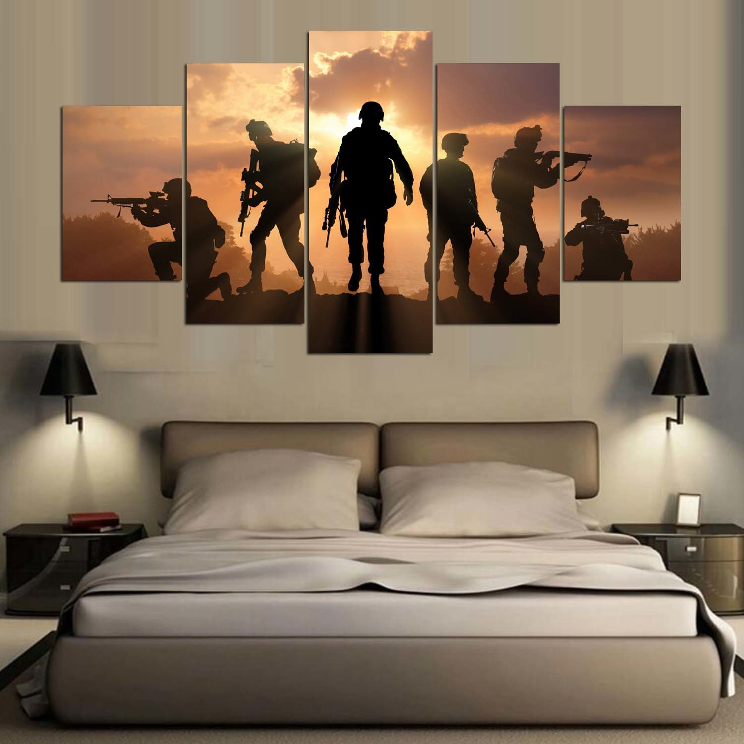 5 Panel HD Printed Painting Canvas Print Art Modern Home Decor Wall Art Pictures for Living Room Army Poster on Canvas Mc-156