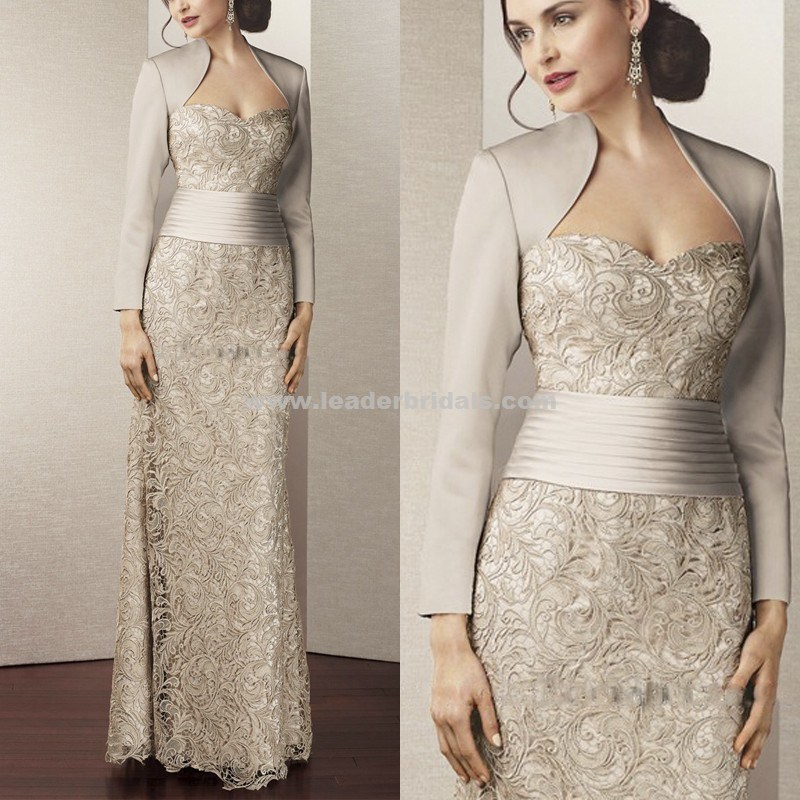 2017 Mother of The Bride Gown Full Sleeves Lace Evening Dress Y112