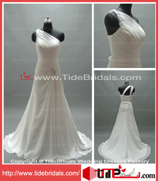 Simple One Shoulder Chiffon Bridal Gown Wedding Dress (AS2934)
