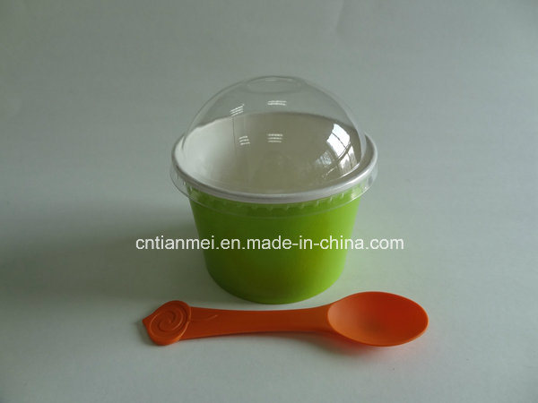 Paper Cold Cups for Ice Cream, Plastic Dome Lid
