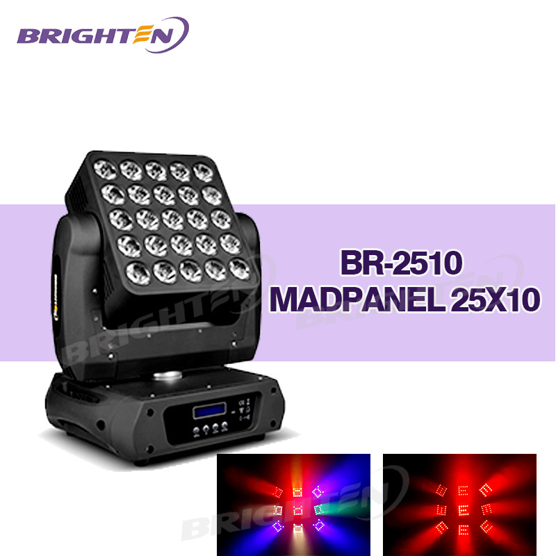 25*10W LED RGBW Matrix Madpanel Moving Head Stage Light