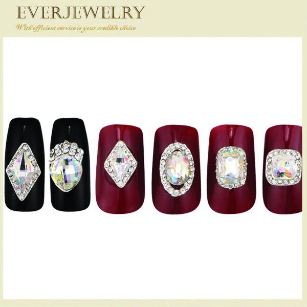 High Quality Different Shape Glossy Nail Crystal Stones with Various Color