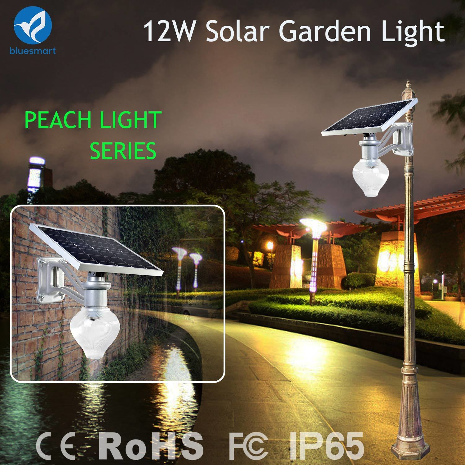 Factory Price Solar Powered Garden Lamp / Courtyard Light