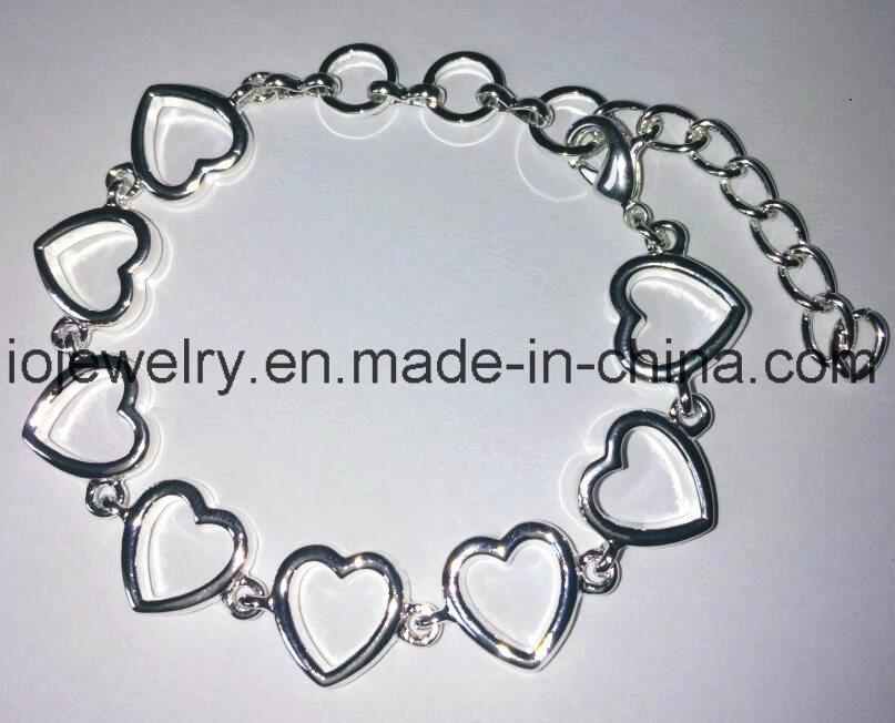 Custom 925 Sterling Silver Heart Bracelet