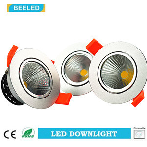 Dimmable LED COB Downlight 5W Cool White Aluminum Sand Silver