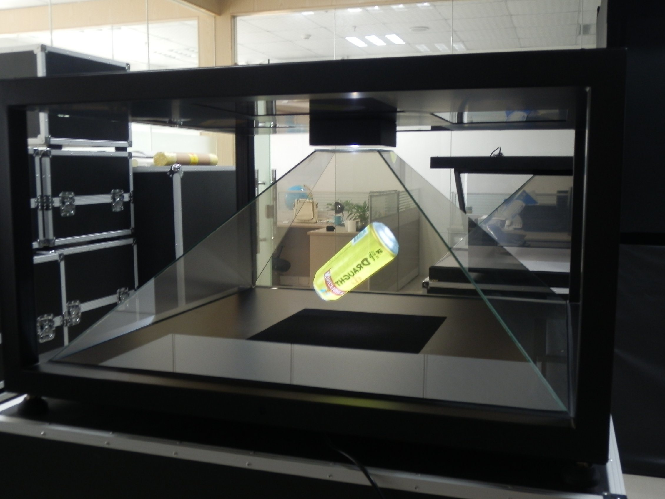 Holo Box, Clear Glass Display Showcase with Light, Hologram Device